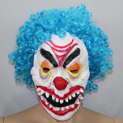 Blue Curly Hair Scary Clown Halloween Mask Creepy White Face Big Teeth Red - Big White Teeth Halloween