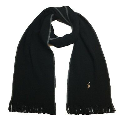 POLO Ralph Lauren Scarf 100% Merino Wool Fringe Embroidered Pony Black NWT $65