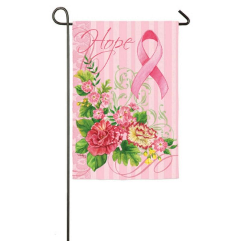 Pink Ribbon and Flowers Hope Mini Garden Flag NEW
