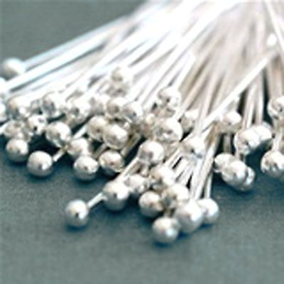 100  Silver Plated BALL Headpins 30 x 0.7mm Head Pins