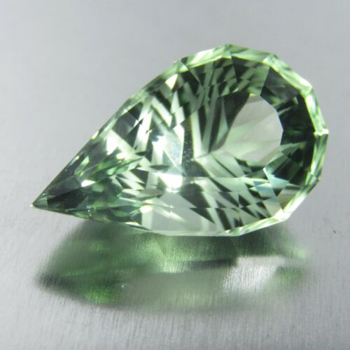 11.15Cts Natural Green Amethyst (prasiolite) Fancy Pear Custom Cut Loose Gem VDO