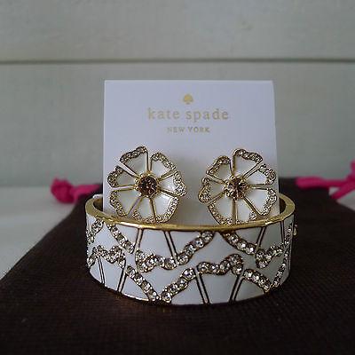 KATE SPADE White GARDEN GROVE BRACELET & STUD EARRINGS Flower BANGLE Set RARE !
