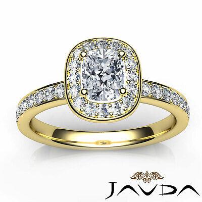 Cushion Diamond Engagement GIA G VS2 Halo Pave Set Ring 18k White Gold 0.87Ct 10