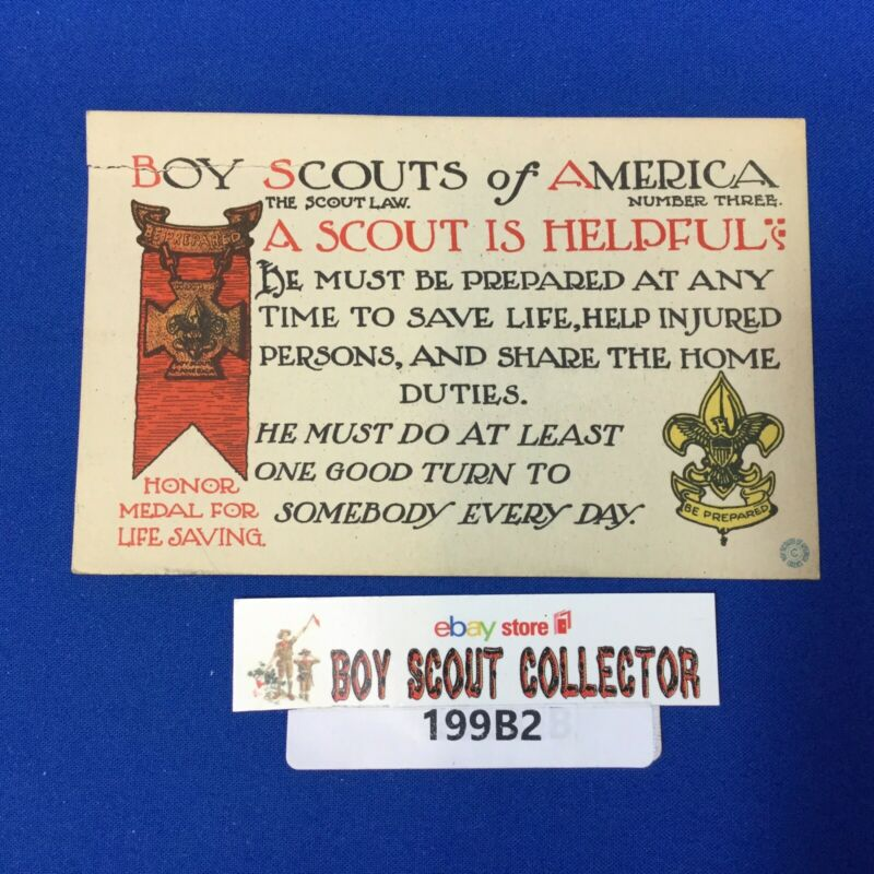 Boy Scout Vintage Postcard The Scout Law #3 A Scout Is Helpful