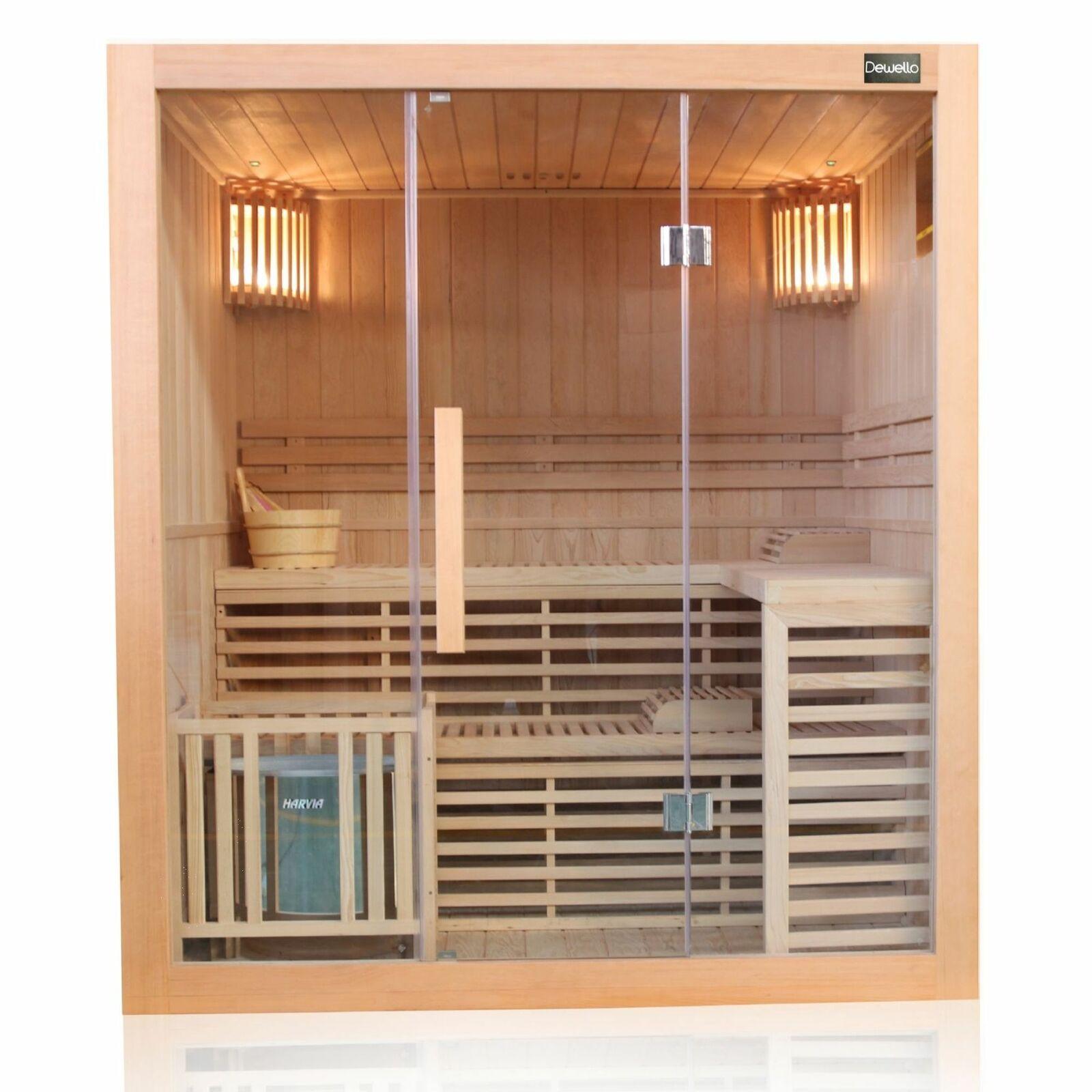 Finnische Traditionelle Sauna Saunakabine Ecksauna Komplettsauna Massivholz