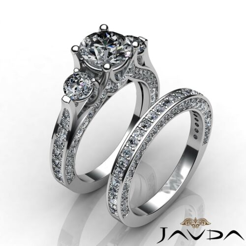 Round GIA Diamond Trellis 3 Stone Engagement Bridal Set Ring F VVS2 Platinum 4ct