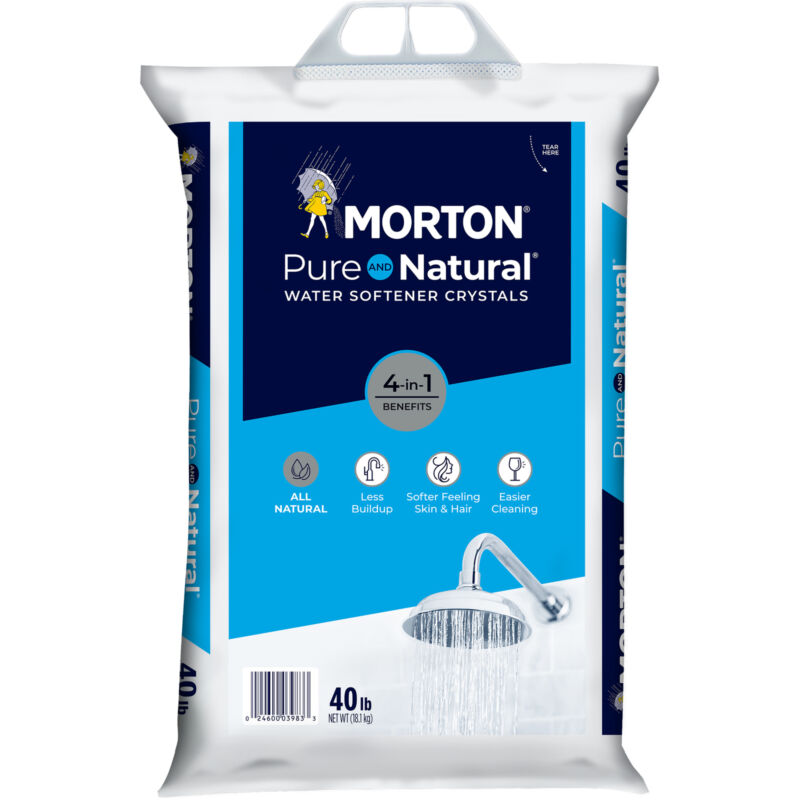 Morton Salt Pure and Natural Sodium Chloride Water Softener Crystals, 40 Pounds