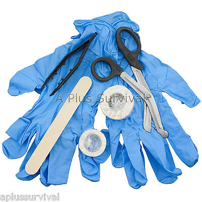 9 Piece Tape Gloves Scissors Tweezers First Aid Camping Survival Emergency Kit