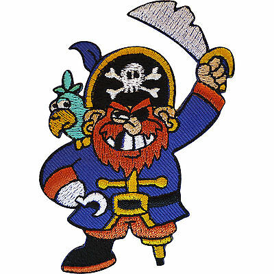Embroidered Iron On Pirate Patch Sew On Badge with Hat Sword Peg Leg Parrot - Pirate Peg Leg Kostüm