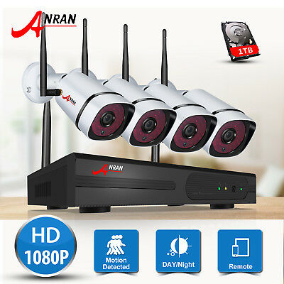 ANRAN 4CH 1080P Security Camera System Wireless Outdoor CCTV P2P 2MP NVR 1TB HDD