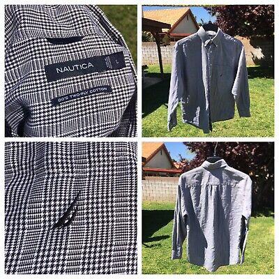 NAUTICA Size L NWOT Men's Plaid Shirt 80's Two-Ply Cotton Long Sleeve