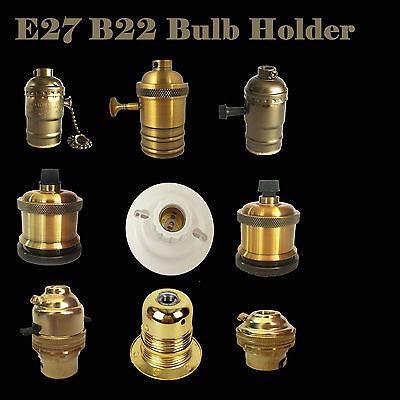E27 B22 220V Brass Bronze Lamp Bulb Holder Socket Vintage Edison Filament Brass Bronze Bulb