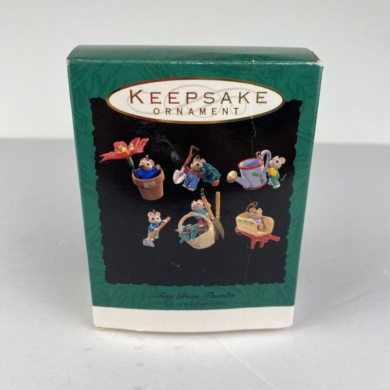 Collectible 1993 Hallmark Tiny Green Thumbs Set Of 6 Mice Christmas Ornaments