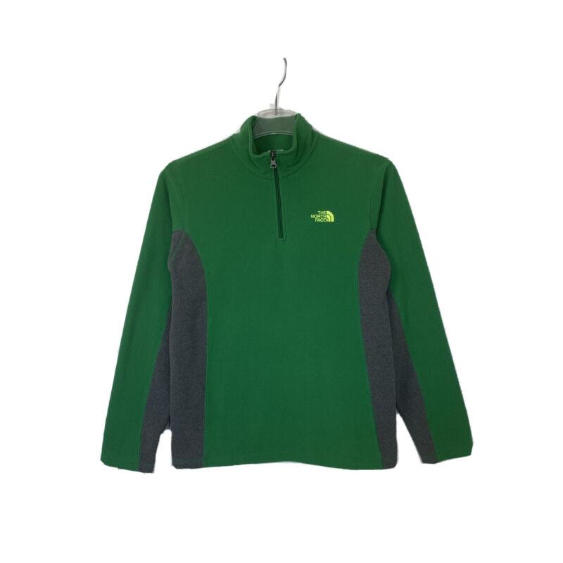 The North Face Boys Size XL Fleece Green Gray Quarter Zip Pullover Sweater