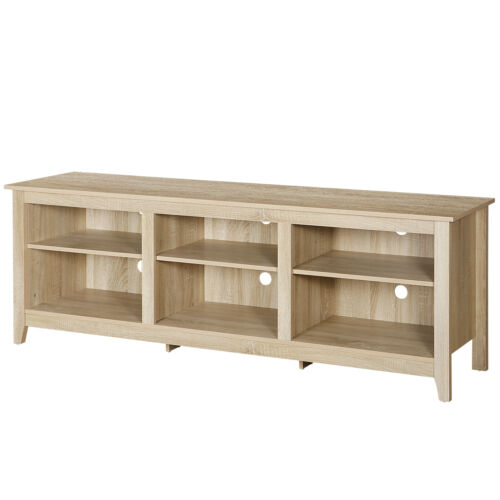 Classic 6 Cubby TV Stand for TVs up to 80″ 70″ Driftwood Modern Farmhouse Furniture