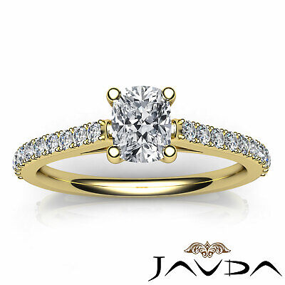 French V Pave Women's Cushion Diamond Engagement Cathedral Ring GIA G VS1 0.75Ct 10