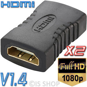 2x HDMI Female To Female Coupler Joiner Adapter Extender Connector HDTV PC 1080P