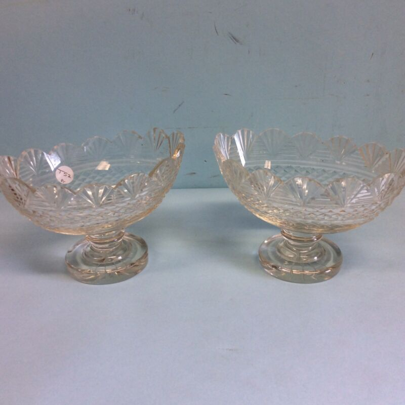 "Pair of English Cut Glass Oval, Footed Bowls 7.5""L"