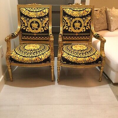 Pair Of Louis  XVI Gilded Chairs With Versace Crown Baroque Velvet Uplostery