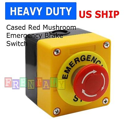 Red Mushroom Emergency Stop Shut Off Push Button Switch No Nc 22mm Cnc Gecko