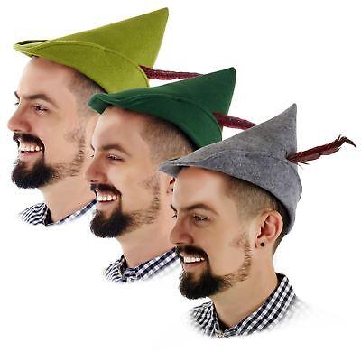 Mens Alpine Robin Hood Oktoberfest Elf Peter Pan Costume Hat wFeather Green - Felt Robin Hood