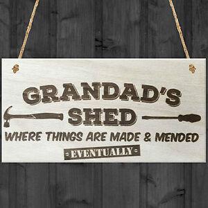 Grandads Shed Wooden Hanging Plaque Novelty Workshop Garage Tool Shed Gift Sign