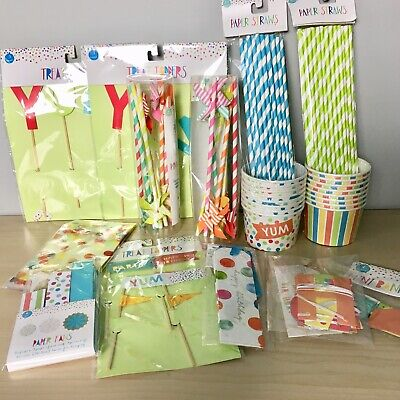 Bowling Birthday Party Supplies (Birthday Party Paper Supplies Lot Generic Straws Bowls Decorations)