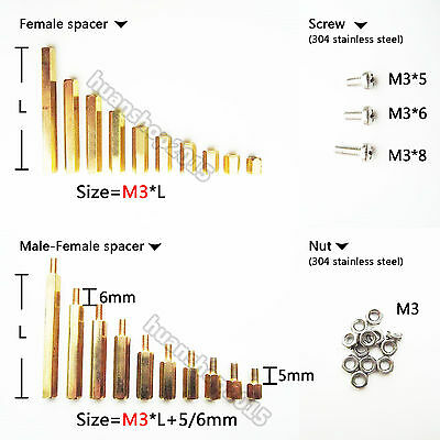 25/50/100pcs Brass M3 Hex Column Standoff Support Spacer Screw Nut PCB Board