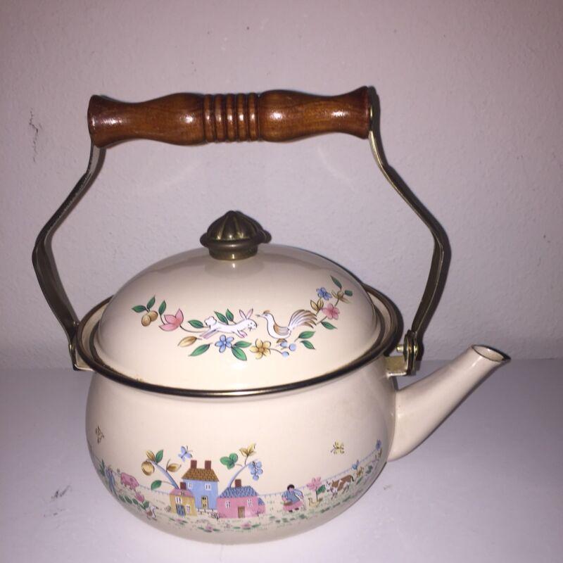 Vintage Heartland Enamel Tea Kettle by International China 2 quart EUC