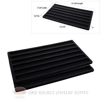 2 Insert Tray Liners Black  W/ 6 Slot Each Drawer Organizer Jewelry Displays