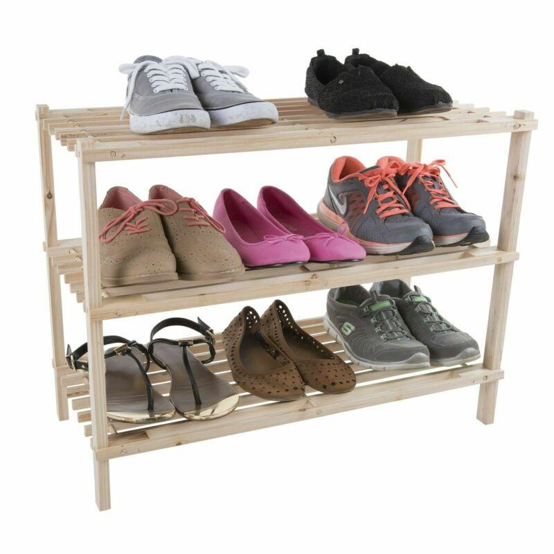 Wooden Shoe Rack Storage Shelf 3 Shelves Hallway Entryway Holds 9 Pairs