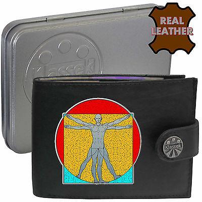Vitruvian Man Da Vinci Klassek Leather Wallet Art Accessory Gift present Tin