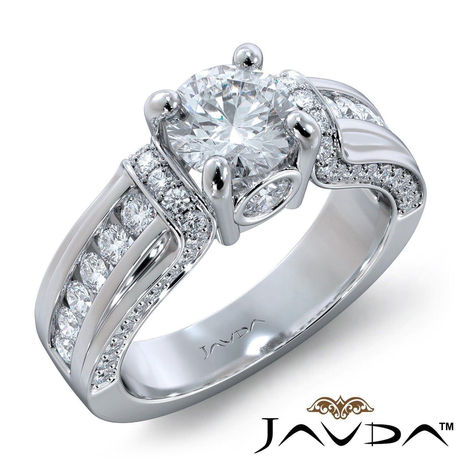 1.7ctw Channel Set Sidestone Round Diamond Engagement Ring GIA F-VS1 White Gold