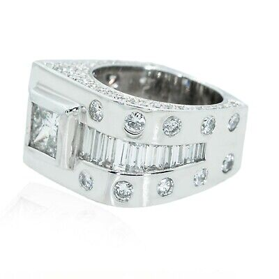 14KT White Gold 6.00CTW Diamond Square Mens Wedding Band