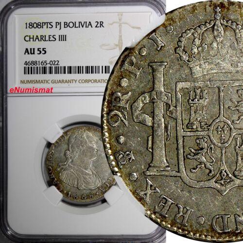 Bolivia Carlos IV Silver 1808 PTS PJ 2 Reales NGC AU55 TOP GRADED BY NGC KM# 71