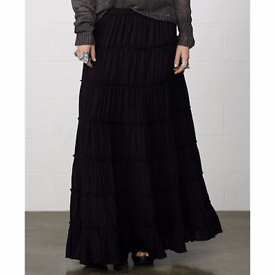 Denim & Supply Ralph Lauren Women's New Black Peasant Boho Maxi Skirt Sz X-Small