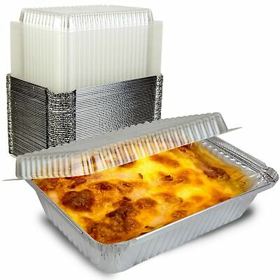 50 Pack Rectangular Disposable Aluminum Foil Pan Take Out Food Containers W...