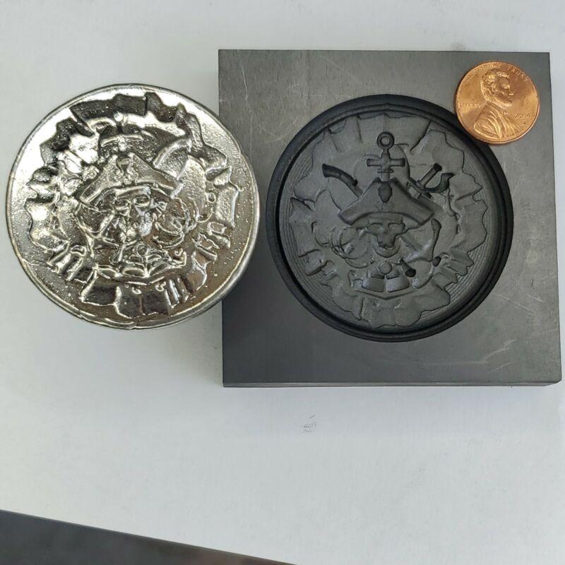 Lg. Pirate 3d Graphite Ingot Mold Gold Silver Copper Tin Melting Casting