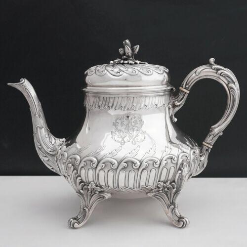 Antique Napoleon III era French Sterling Silver Teapot, Louis XVI Rococo Style