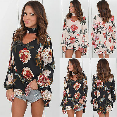 US STOCK Women Choker V Neck Floral T-Shirt Long Sleeve Tops Shirts Blouse T99