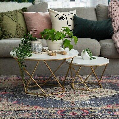 Modern Bohemian Nesting Coffee Table Set - Faux White Marble/Gold