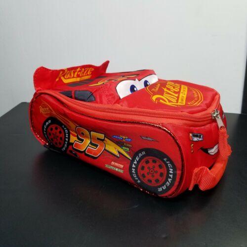 "Disney Cars Lightning McQueen Shape 10"" Red Light Up Insulated Lunch Box Bag"