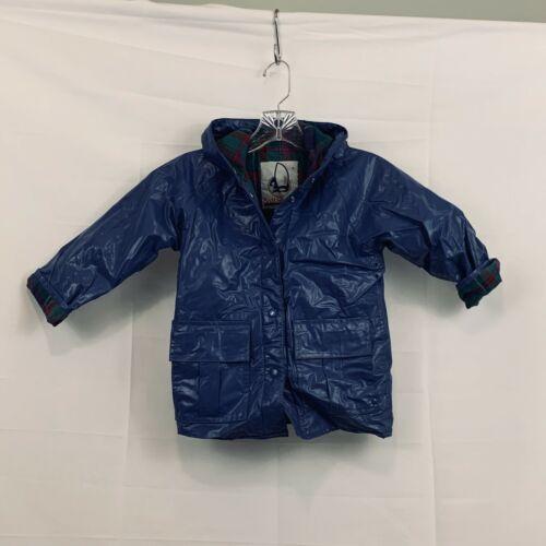 Sailmaker Outerwear Toddler Sz 4T Rain Coat Jacket Slicker Hooded Navy Vintage