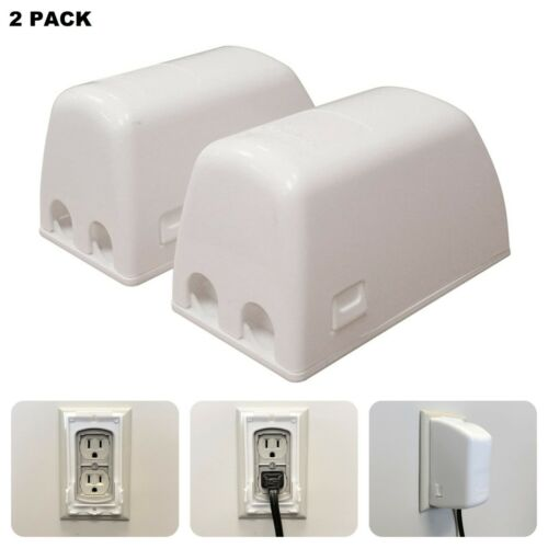 2 Outlet Covers Baby Proofing Electric Power Plug Socket Child Proof Safety Box