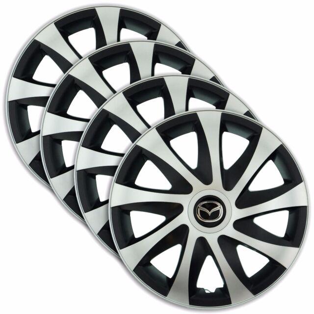 """hub caps 15"""" mazda mazda2 mazda3 mazda5 4x wheel trim cover silver"""
