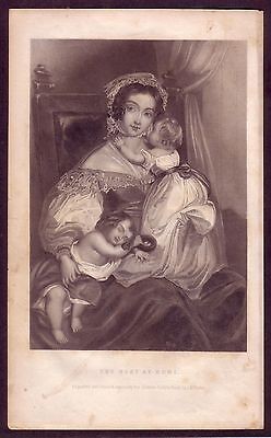 1850s Old Antique Nest Home Lady Fashion Baby Butler Art Engraving Print