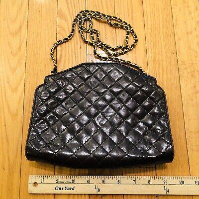 Vtg Carel Paris Brown Quilted Leather Handbag