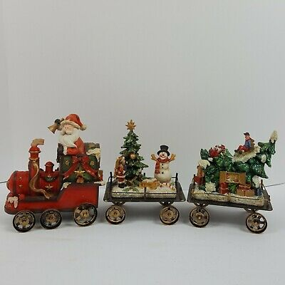 Christmas Kirkland Holiday Train Set Wood Carved Look 6.5 In H 089692 Boxed