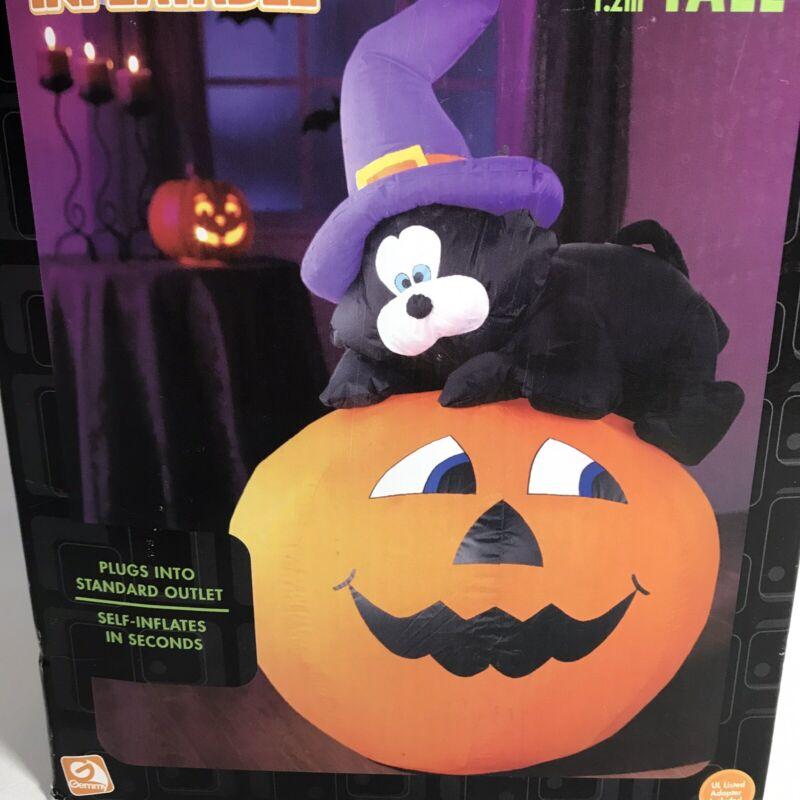 Cat on Pumpkin Airblown Halloween Inflatable Gemmy 4 ft Tall WORKS