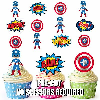 PRE-CUT Superhero Captain America Edible Cupcake Toppers Decoration (Pack of - Captain America Cupcake Toppers